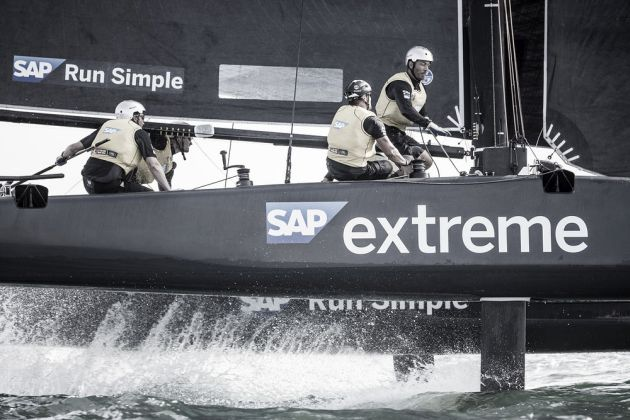 SAP Extreme Sailing Team in action on the opening day of racing in Muscat