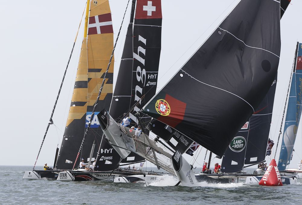 Sail Portugal catches a gust in one of a few extreme moments in the final day of racing in Muscat