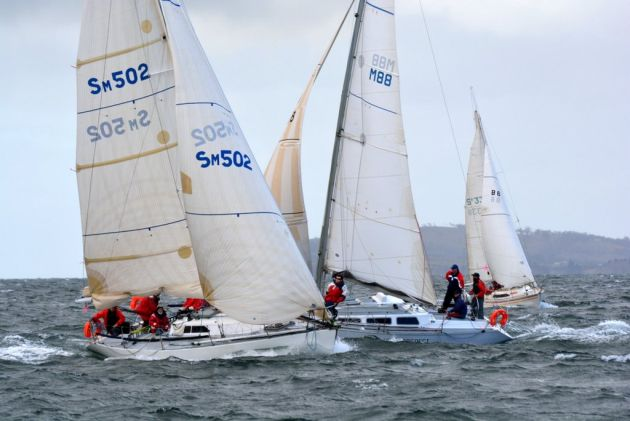 Coromandel 3 and Hot Prospect jostle for the start of a Division 1 race at the North Sails IOR Cup.   Hot Prospect was overall winner.Photo Mark Ballard.