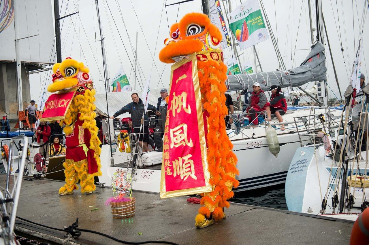 Celebrations on the dock. Image : RHKYC / Aitor Alcalde.