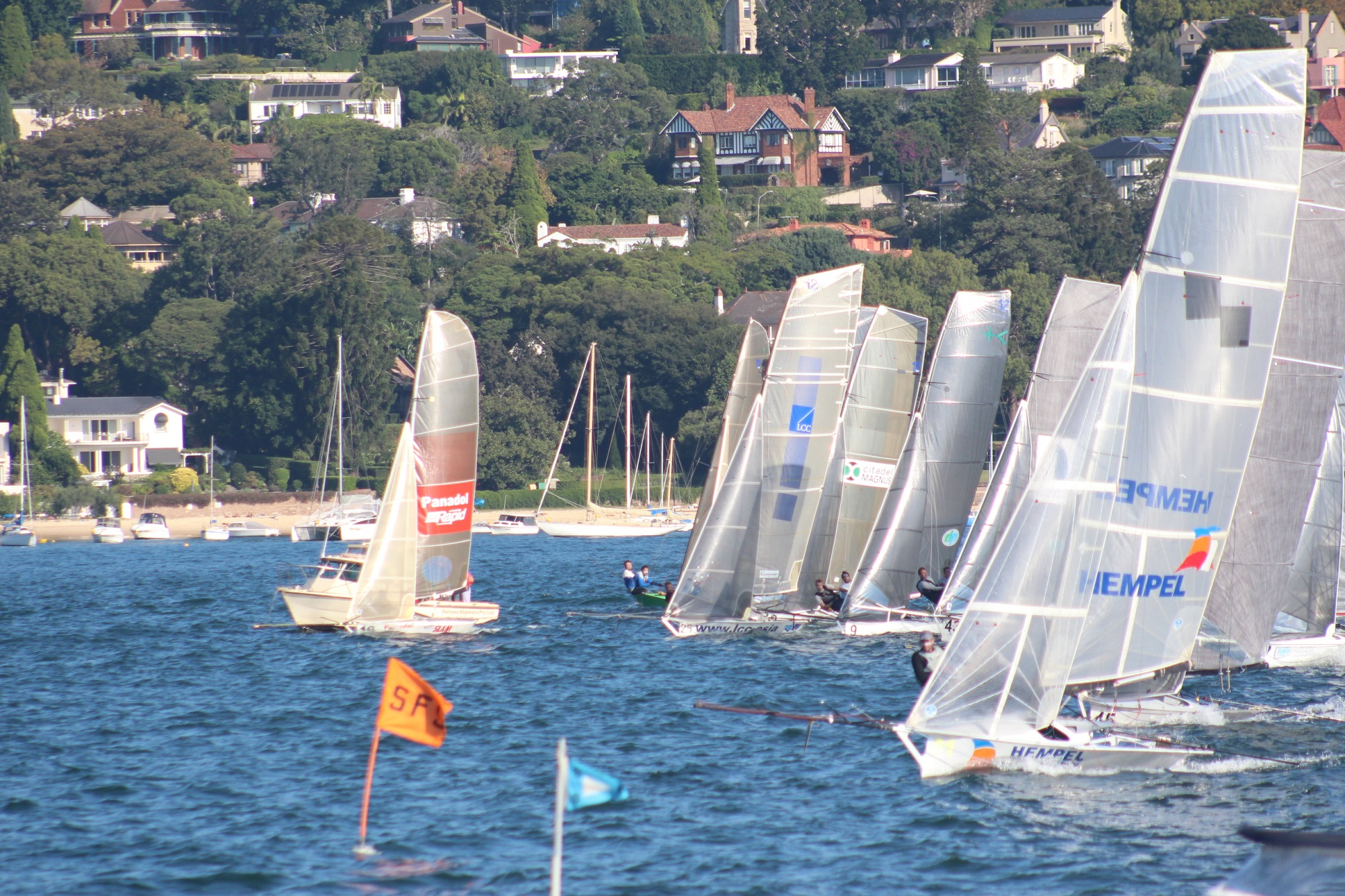 Busy start line at the 12ft skiff nationals. Photo Vita Williams.