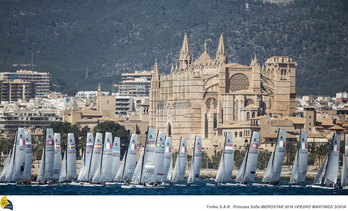 Nacra 17s racing in Palma. Photo Pedro Martinez/SOFIA.