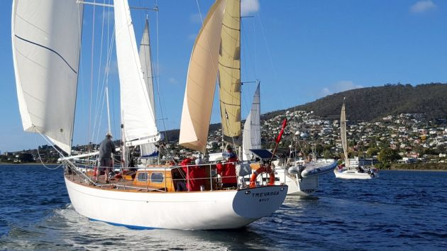 The classic yacht Trevassa showed she is still a fine yacht in a  breeze. Photo by Michelle Denney.
