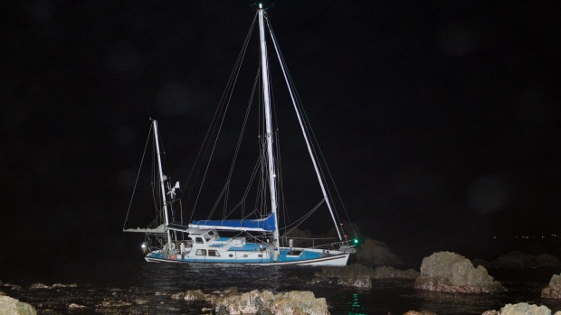 The yacht grounded off Moa Point Wellington on Monday night. Photo Monique Ford/Fairfax NZ.