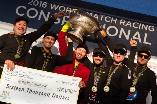 Taylor Canfield and crew celebrate their big payday at the Congressional Cup. Photo Ian Roman.