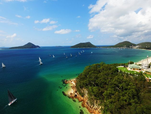 The fleet heading out of Port Stephens. Photo credit Hover UAV.
