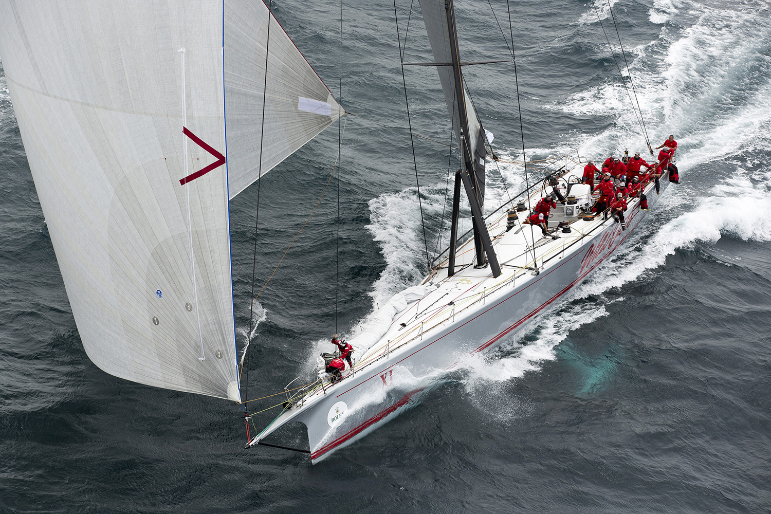 Wild Oats XI at the start of the Rolex Sydney Hobart Yacht Race. Photo Andrea Francolini.