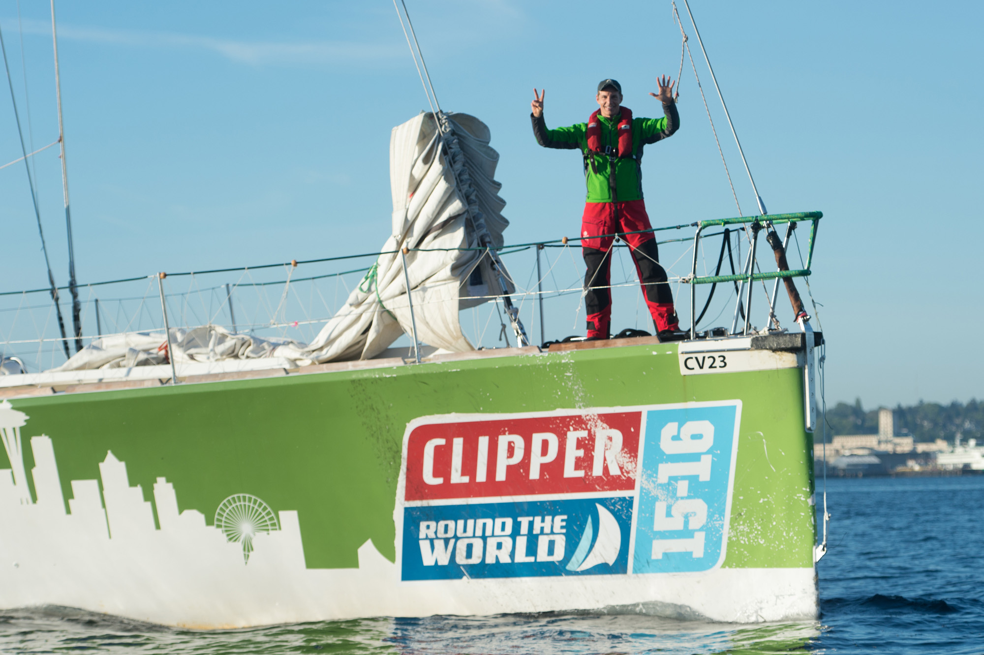 Martin Frey after crossing his seventh sea. Photo Clipper Ventures.