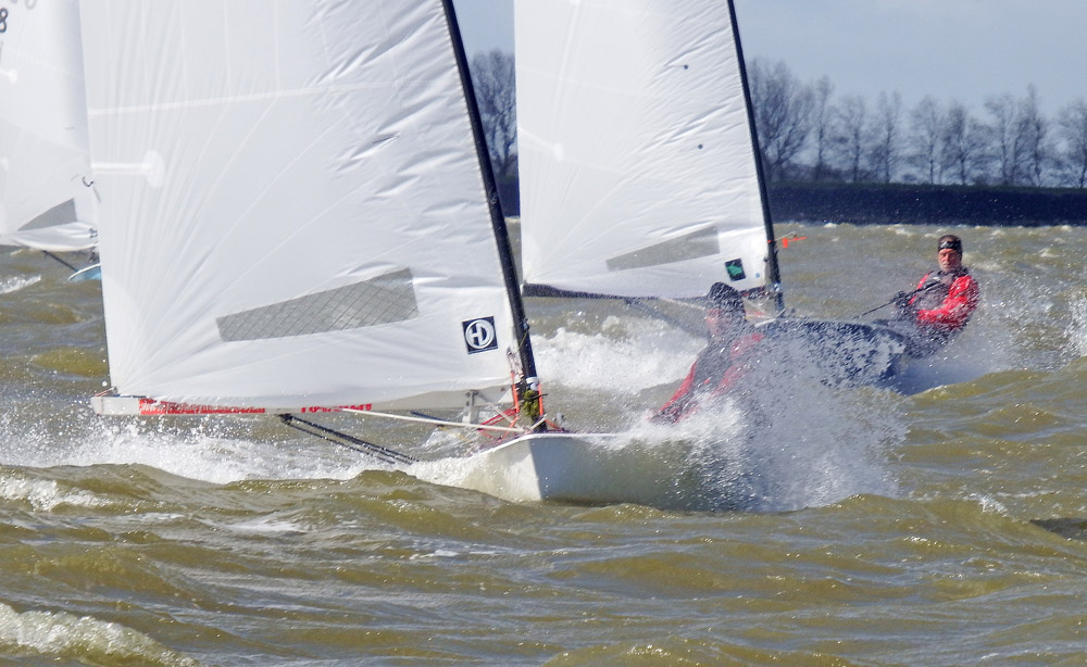 Racing at the OK Dinghy Europeans. Photo Robert Deaves.
