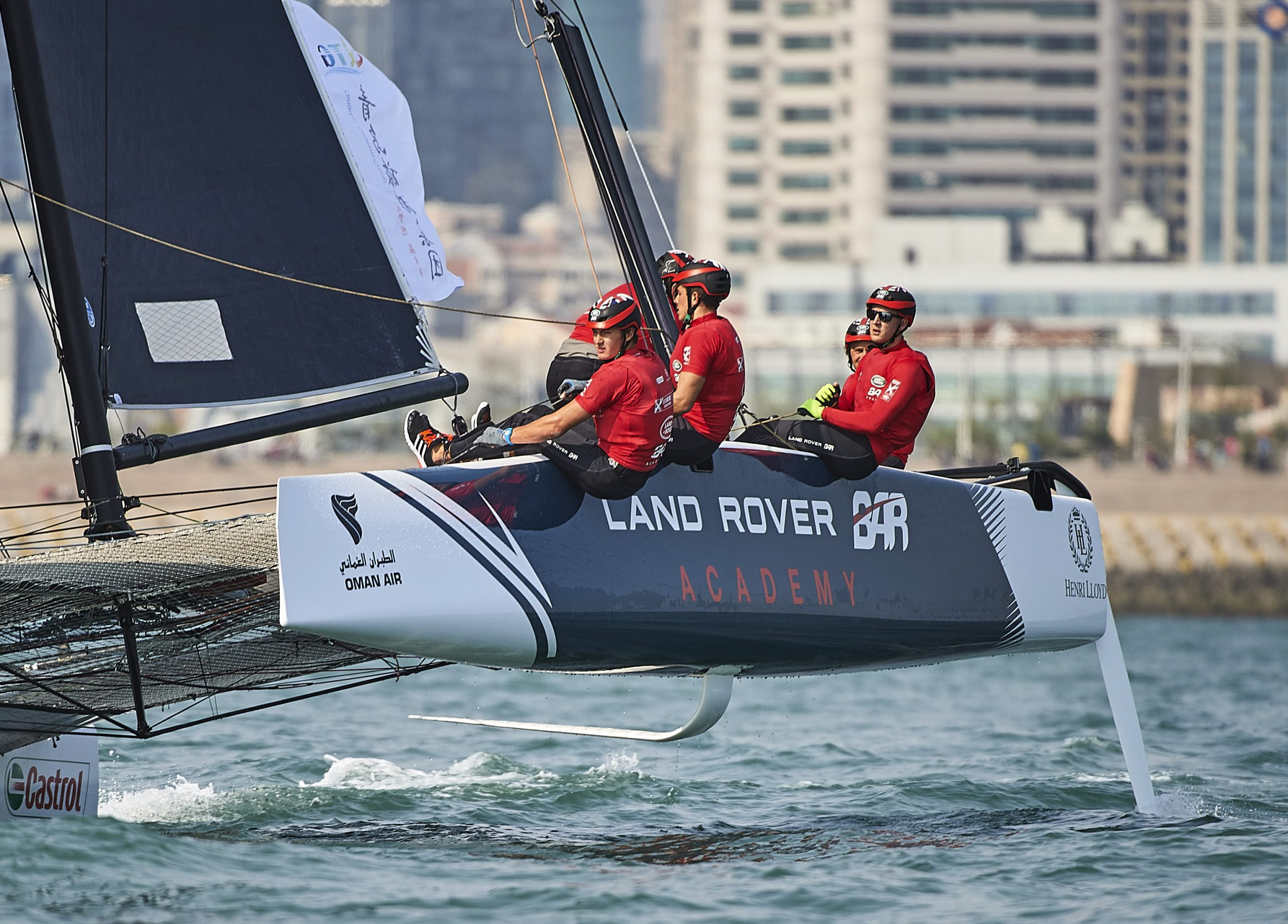 Land Rover BAR Academy racing in the light conditions in Qingdao. Photo Aitor Alcalde Colomer.
