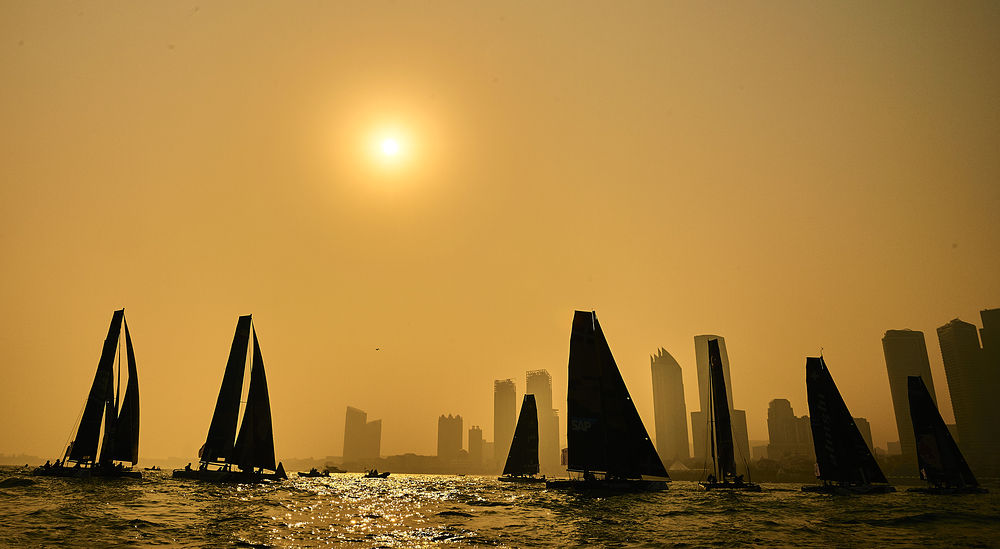 The GC32 fleet entered the Qingdao Stadium on the second day of racing in China. Photo Aitor Alcalde Colomer.