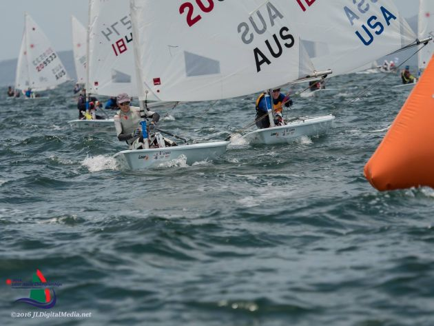 Vanessa Dudley on her way to a second World Masters Laser Radial title. Photo JLDigitalMedia.