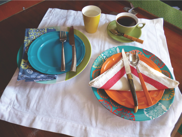 Dinner doesnt have to be boring plastic dishes and reuseable table linens.