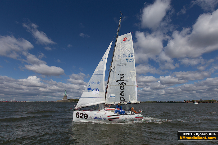 Olivieri Jehl in New York Harbor on board his 6.5 Mini. Credit: Bjoern Kils.