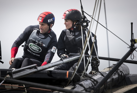Flying high The Duchess of Cambridge sails with Sir Ben Ainslie and the British America's Cup Challenger on the Solent. Photo Lloyd images.