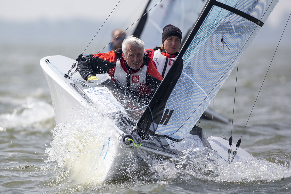 The Polish team have a strong lead in the Skud 18. Photo World Sailing.