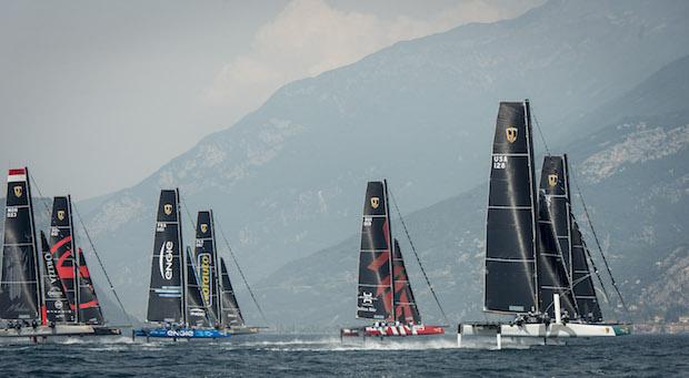 Nine GC32s battling on Lake Garda. Photo Loris van Siebenthal.