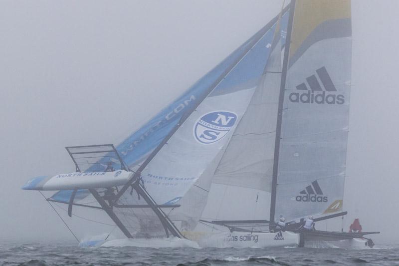 Rahm Racing capsizing during Group 1's third race. Photo Ian Roman.