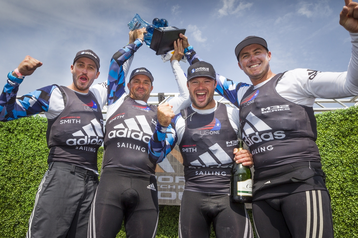 Team US One celebrates victory in Newport