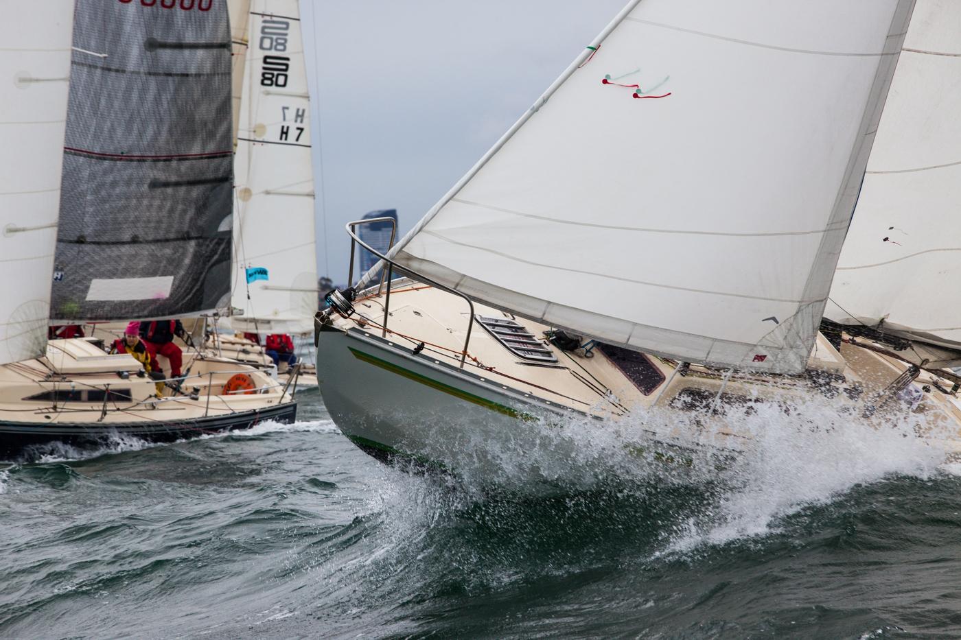 Close racing at the Australian Women's Keelboat Regatta. Photo Bruno Cocozza Photography.
