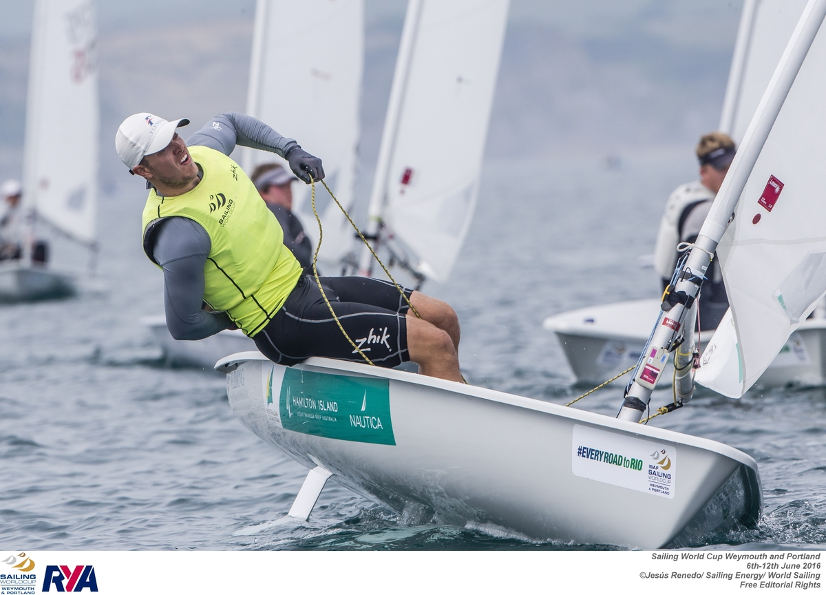 Tom Burton at the Sailing World Cup in Weymouth and Portland. Photo Jesús Renedo / Sailing Energy.