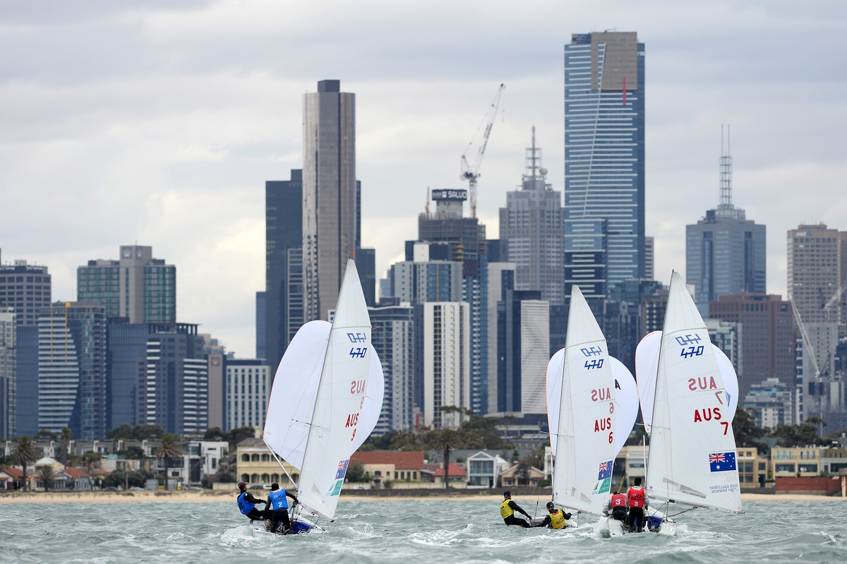 470s at the Sailing World Cup Melbourne. Photo Jeff Crow.