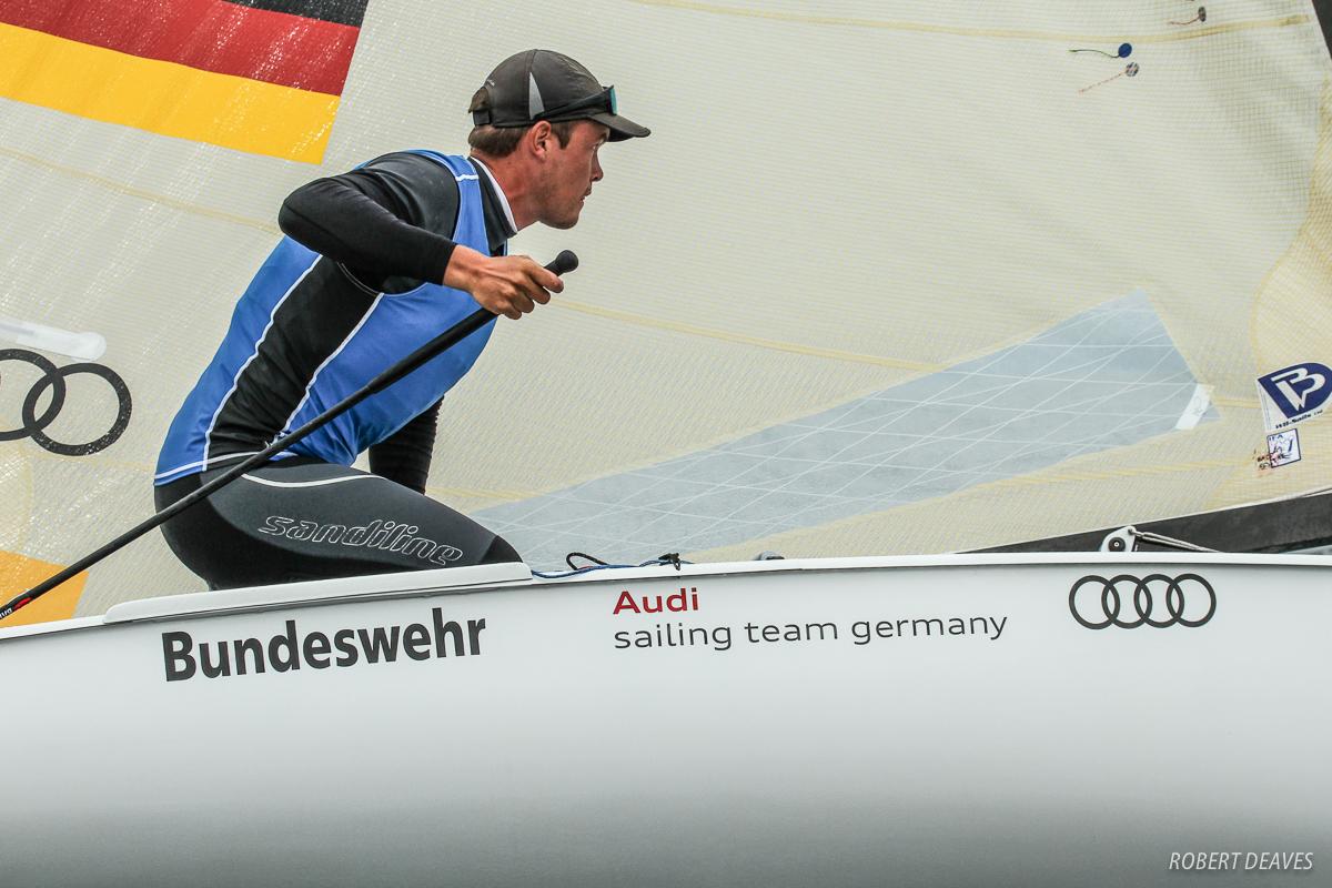 Racing at the Finn U23 worlds. Photo Robert Deaves.
