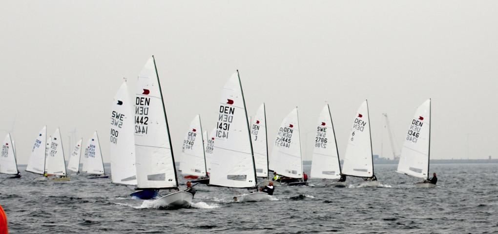 OK Dinghy fleet. Photo Robert Deaves.