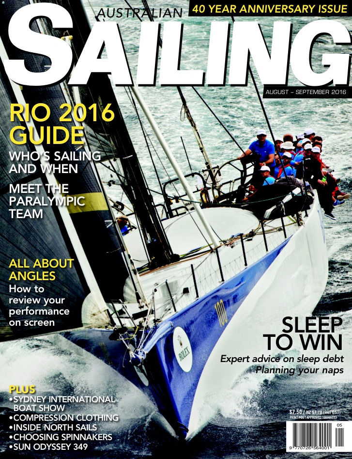 Ragamuffin on the August/September cover of Australian Sailing. Photo by Andrea Francolini.