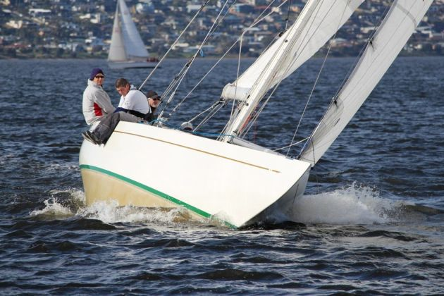 Classic 8-metre yacht Juana powers to windward on the Derwent today