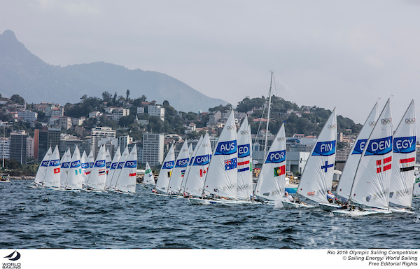 Tom Burton gets off the line well at the pin end. Photo Sailing Energy/World Sailing.