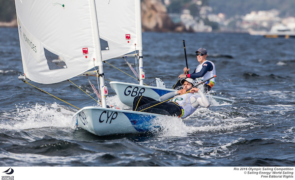Pavlos Contides leads Nick Thompson in the Laser qualifiers. Photo Sailing Energy/World Sailing.