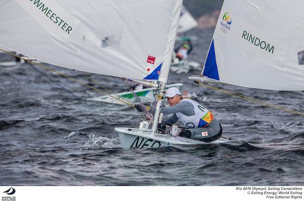 Marit Bouwmeester on a downwind run. Photo Sailing Energy/World Sailing.
