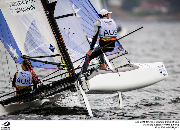 Jason Waterhouse and Lisa Darmanin (AUS) made a good start on the opening day of the Nacra 17 in Rio. Photo Sailing Energy/World Sailing.