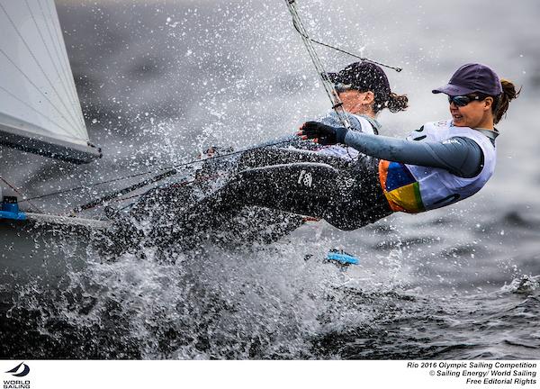 Jo Aleh and Polly Powrie (NZL). Photo Sailing Energy/World Sailing.