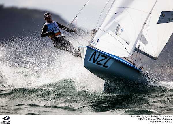 Polly Powrie on the wire of the 470 at Rio 2016. Photo Sailing Energy/World Sailing.