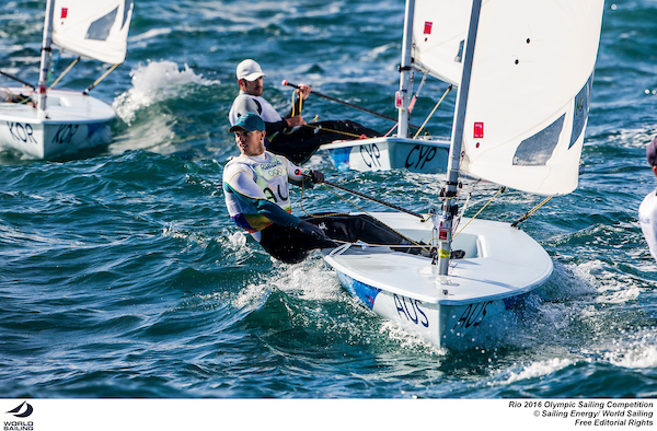 Tom Burton with eyes out of the boat. Photo Sailing Energy/World Sailing.