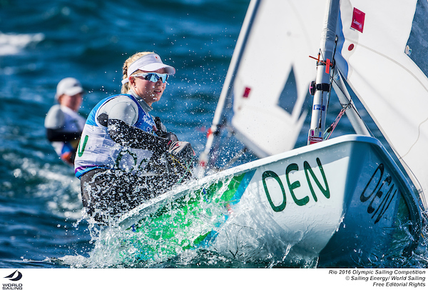 Anne-Marie Rindom (DEN) in the Laser Radial at Rio 2016. Photo Sailing Energy/World Sailing.
