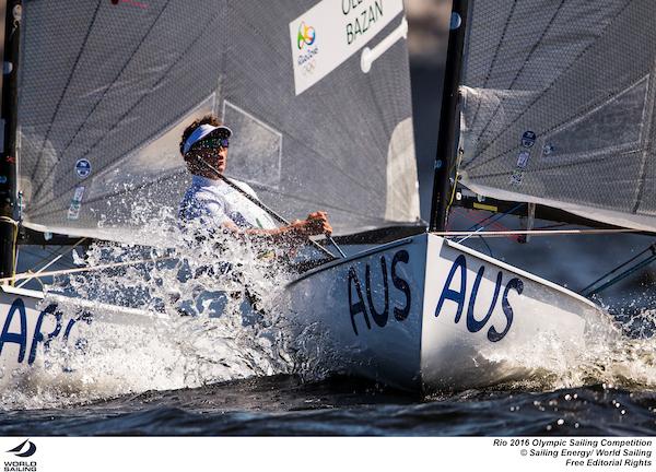 Jake Lilley powers through the waves at Rio 2016. Photo Sailing Energy/World Sailing.