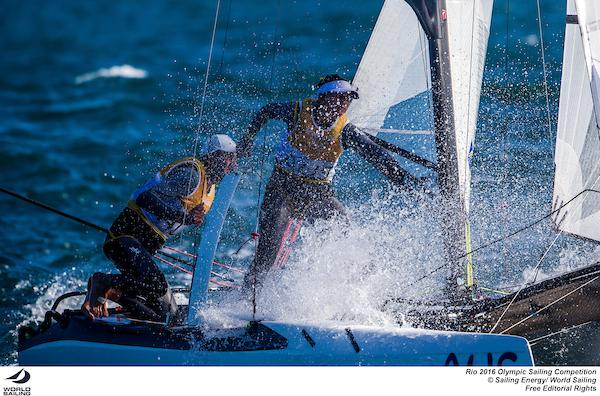 Lisa Darmanin working hard on the Nacra 17. Photo Sailing Energy/World Sailing.