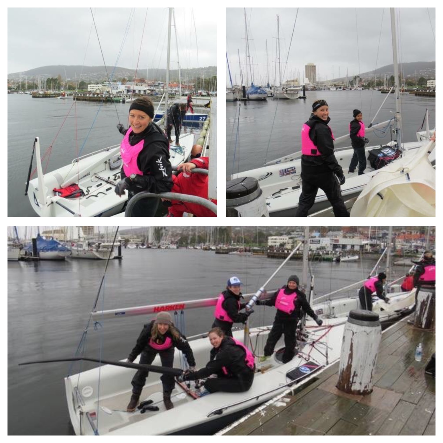 Members of Athena Sailing prepare one of their SB20 for racing on the Derwent