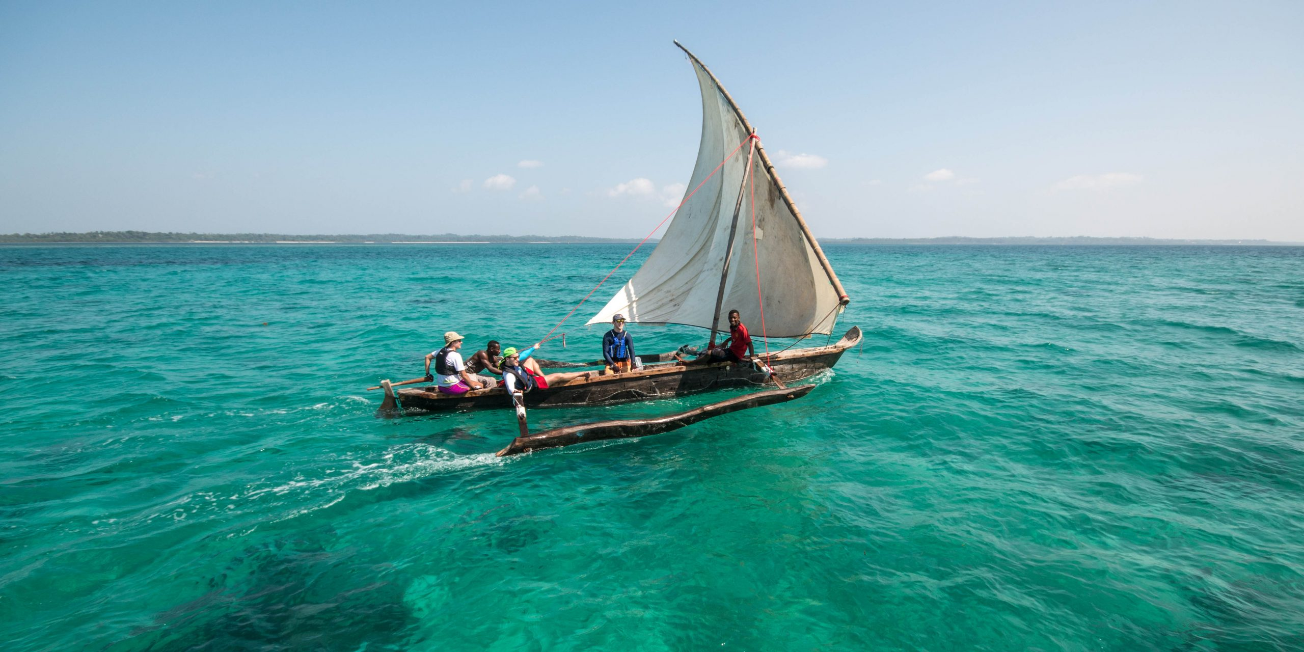 The Ngalawa Cup is held in traditional fishing boats with lanteen sails. Photo 2016 Gnalawa Cup.