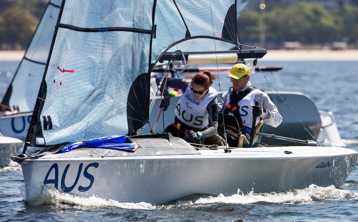 Dan Fitzgibbon and Liesl Tesch leading the Skud 18 at Rio. Photo Richard Langdon/Ocean Images.
