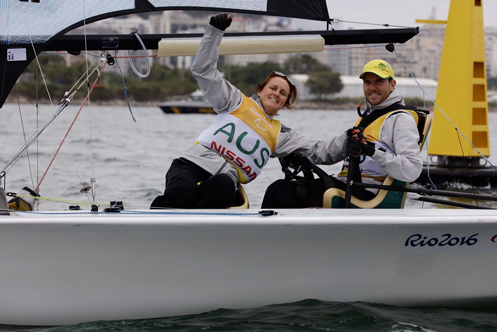 Dan Fitzgibbon and Liesl Tesch secured their Gold medal ahead of the final race. Photo Sailing Energy/World Sailing.