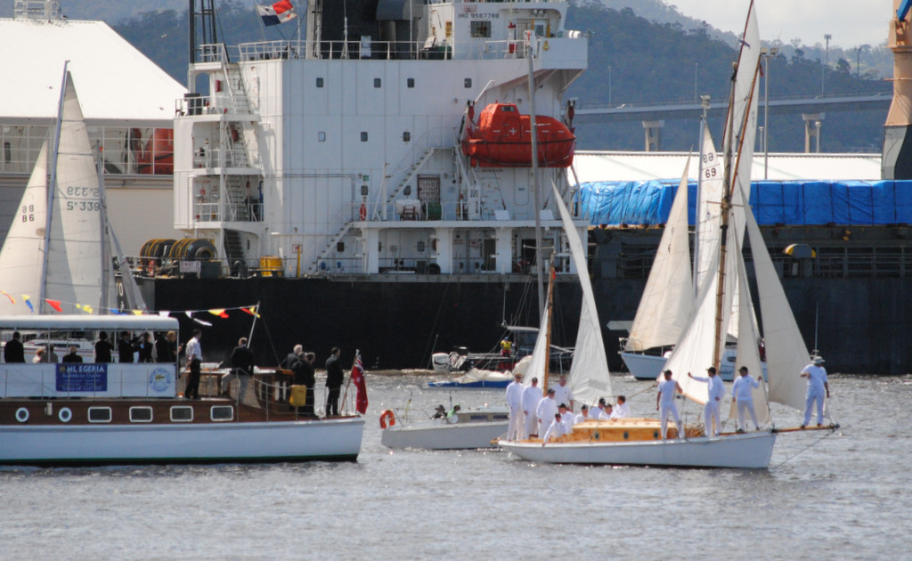 The 100 year-plus-old yawl Gipsy sails past Egeria. Photo Peter Campbell.