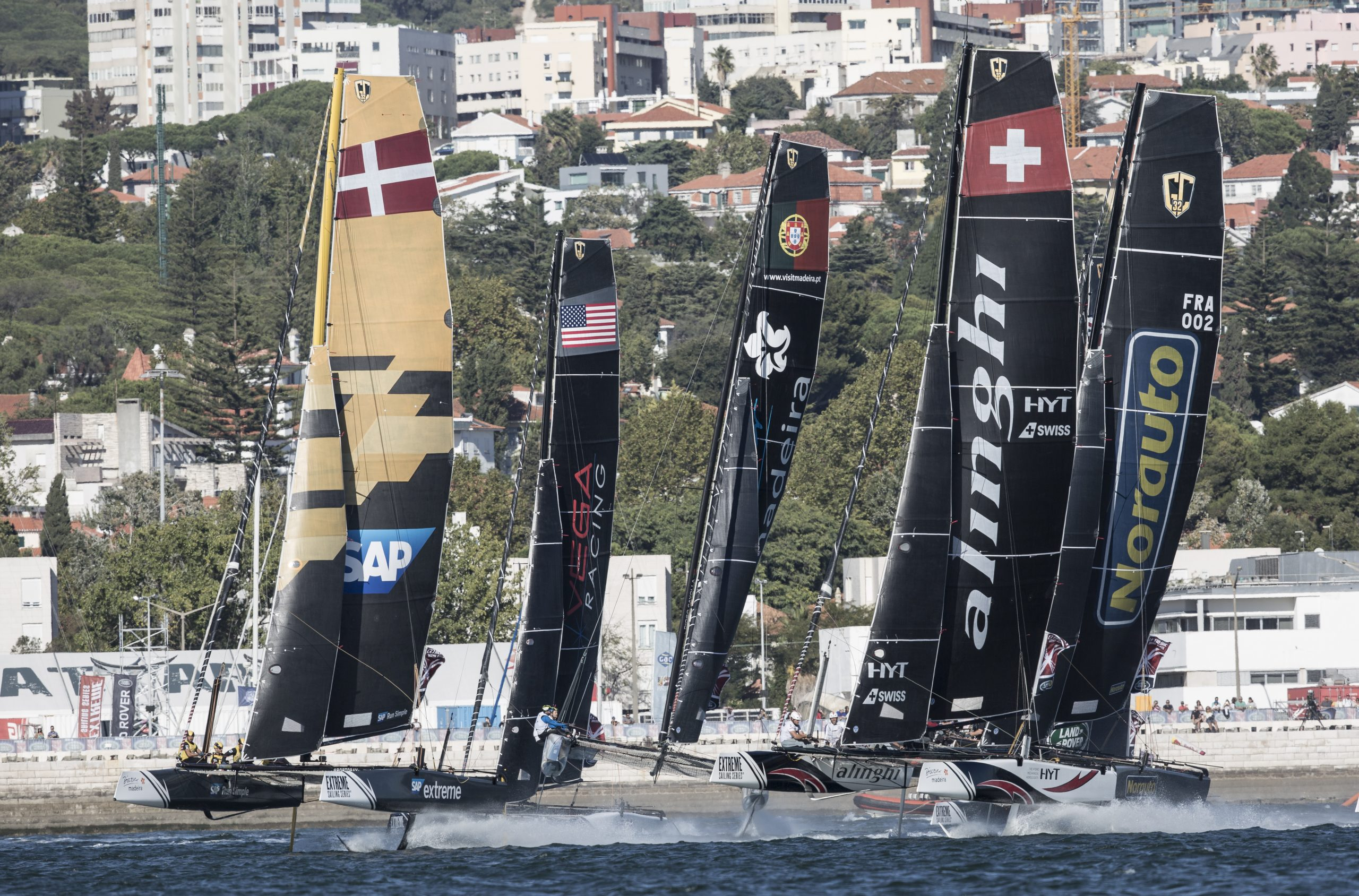 The GC32 fleet raced seven races in up to 20 knots of breeze during the penultimate day's racing in Lisbon