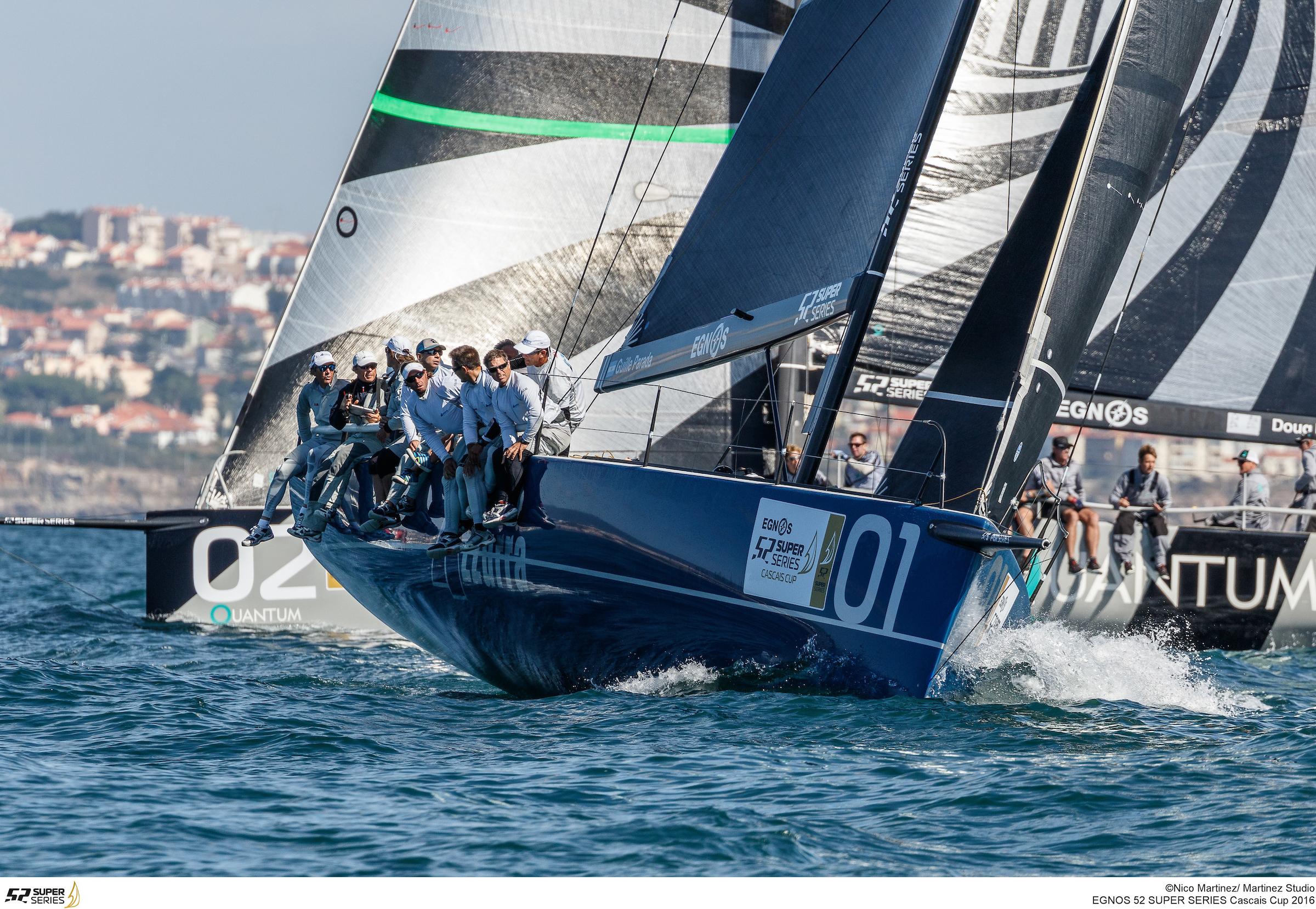 Azzurra leads Quantum Racing in the final regatta of the 52 Super Series. Photo Nico Martinez / Martinez Studio.