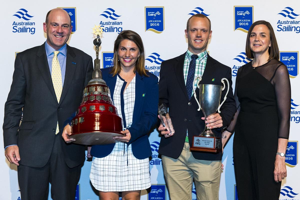 Tom Burton and Lisa Darmanin won Male and Femal sailors of the year. Photo Andrea Francolini.