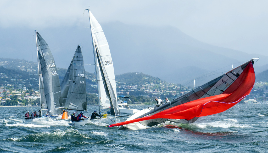 SB20 in a  big broach attempting to carry a spinnaker in 30 knots. Photo Jimmy Emms.