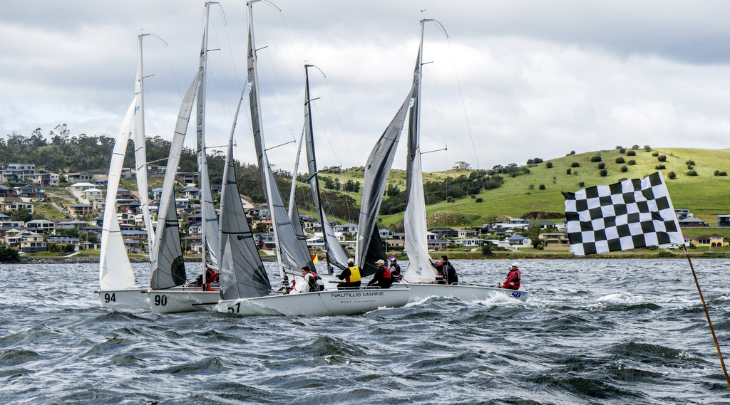 Close finish back in the fleet of the SB20s.  Photo Jimmy Emms.